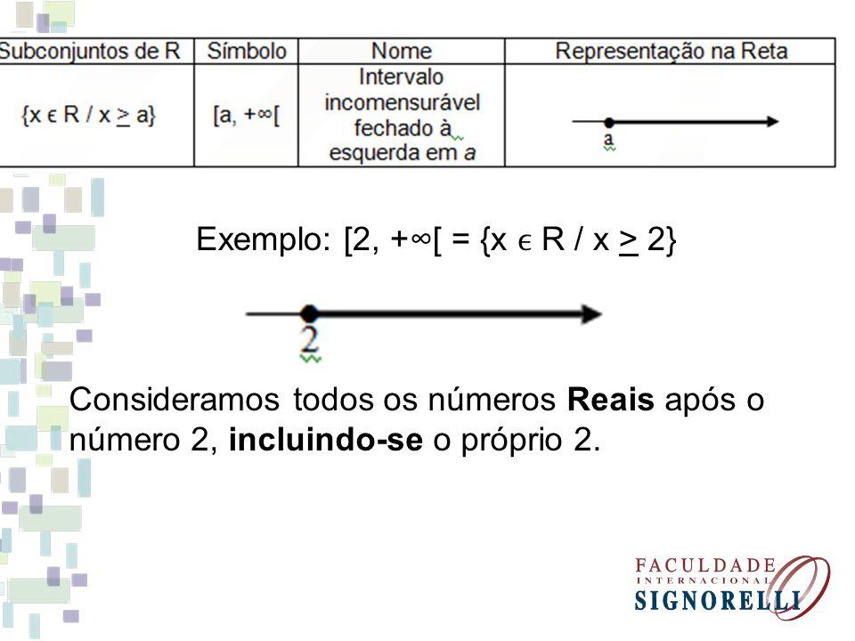 Exemplo: [2, +∞[ = {x ϵ R / x > 2}